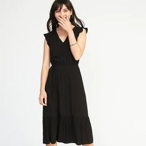 Black Old Navy waist defined Flutter Sleeve Dress